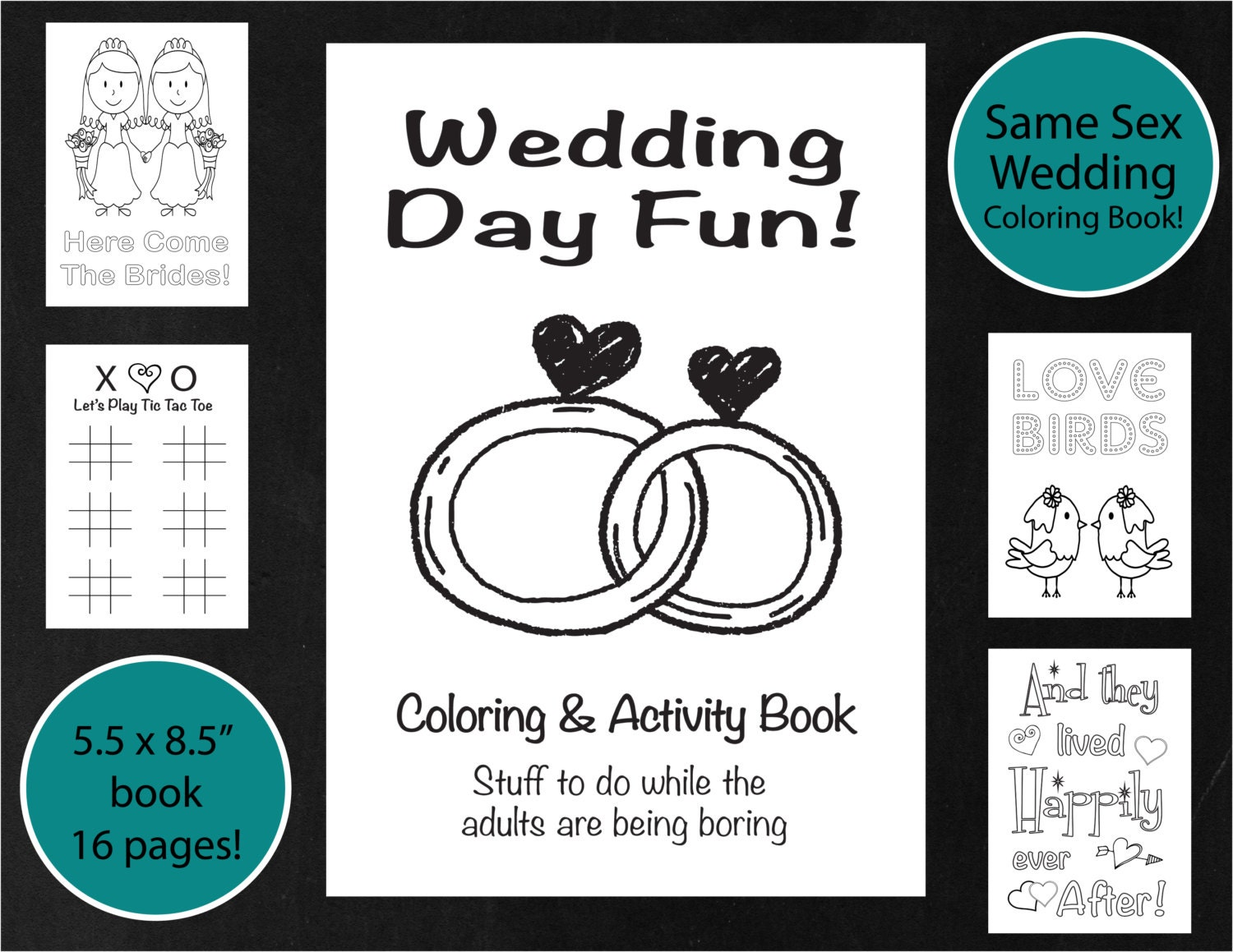 Same Sex Wedding Coloring Amp Activity Book Brides Lesbian