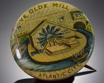Ye Olde Mill' Atlantic City Vintage Button