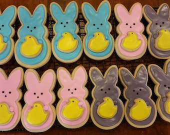 Easter Peeps with Mini Peeps Cut Out Cookies (1 Dozen)