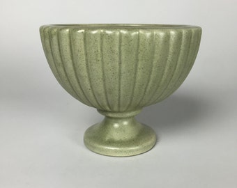 Mid Century Sage Green Pedestal Pottery Planting Pot from the 1960's