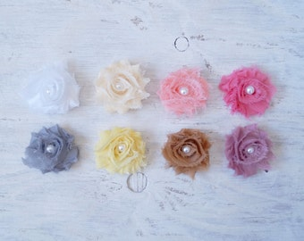 Mini Shabby flower clip, pick a colour