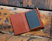 The Camus Wallet - Moleskine Notebook Wallet with Pen - Handcrafted in USA - Chestnut