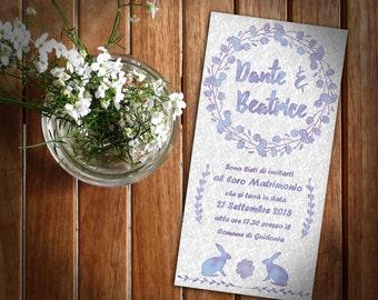 "Wedding card ""Lavender Bunny""-style floral custom invitation, cottage chic"