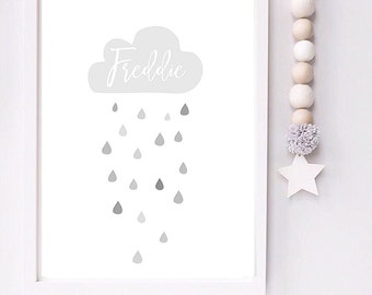 Personalised rain cloud nursery toddler room print