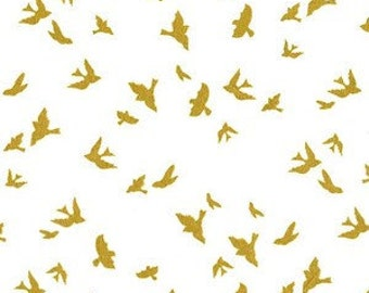 Bird Fabric-Gold Sparkle-Modern Metallic Fabric-Michael Miller-Birds in Flight Quilting Fabric