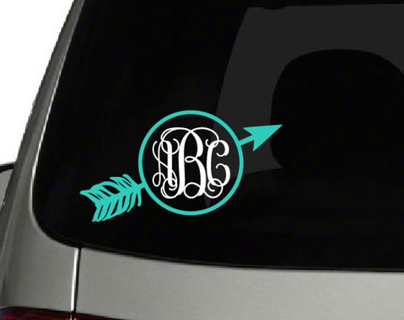 Arrow Monogram Decal Monogram Arrows Decal Monogram Car - Monogram decal on car