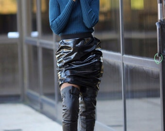 Handmade Women's Patent Leather Mini Skirt with Waistband and Side Pockets