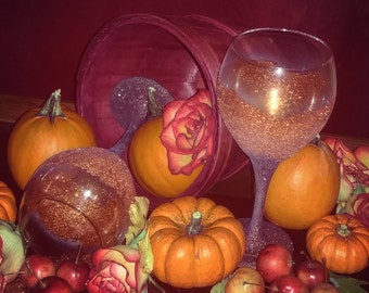 Sparkly Fall Pumpkin Wine Glasses