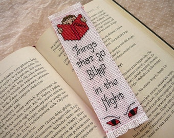 Cross stitch bookmark - Horror bookmark, embroidered bookmark, gift for readers, book lover