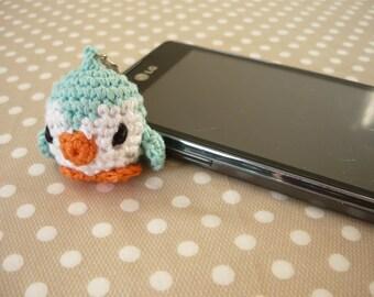 Amigurumi phone charm - little penguin, gift for teens, cute keychain, kawaii charm, valentines day gift, Dust Plug, Earphone Plug