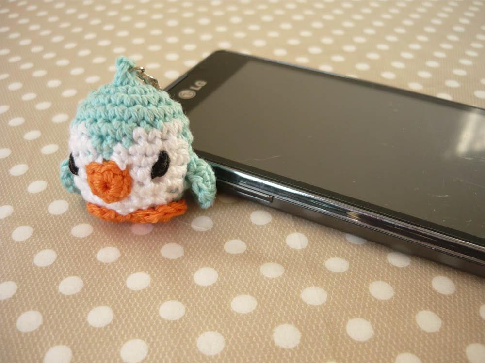 Amigurumi Penguin Cell Phone Strap : Amigurumi phone charm little penguin gift for teens cute