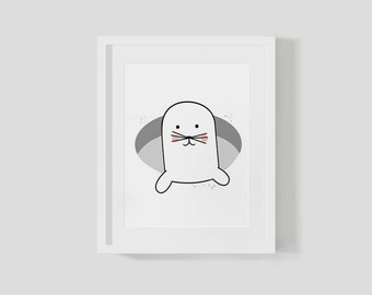 Downloadable Seal In A Hole Print Poster Black And White Arctic Kids Bedroom Decor Gift For Kids Childrens Art Wall Art Children