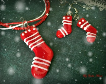 Christmas Sock Earrings, Christmas Sock Necklace, Christmas Jewelry, Murano Glass Jewelry, Murano Glass Earrings, Murano Glass Necklace