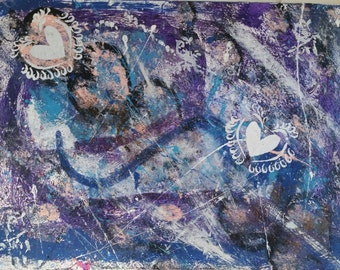 OOAK Abstract Heart Acrylic wall art, blue and purple design