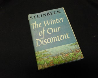 Vtg Hardcover w/Dust Jacket Book Novel John Steinbeck The Winter of Our Discontent 1961 BCE