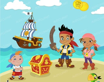 50% OFF SALE Pirate Digital Clipart, Jake Clipart, Neverland Clipart, Pirate Clipart, Pirate Clip Art,Pirate party