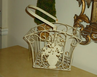 Vintage, Shabby Chic Metal Basket,  Perfect for Indoor and Outdoor
