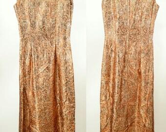 70s ~ Metallic Boat Neck Full-Length Gown