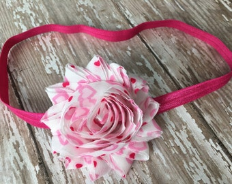 Valentines Day shabby flower headband