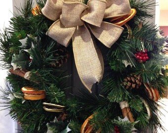 Artificial Christmas Wreath - Decorated in a traditional style