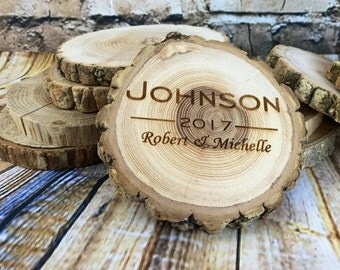 HUGE SALE! Custom Coaster Set, Wood Engraved Coaster Set, Rustic Wood Coaster, Personalized Coaster Set, Log Coasters