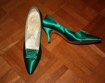 Emerald Green Satin 1960s Shoes