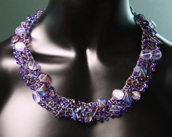 purple Necklace,wire knitting,handmade,glass beads