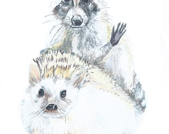 "The Cowens Buddies  5 x 7""  8 x 10"" Illustrated Raccoon Hedgehog Print"