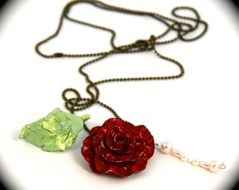 deep red rose neckless