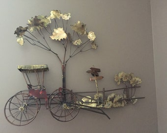 """Curtis Jere """"Stroll in the Park"""" C. Jere Signed Rare Find Metal Wall Sculpture"""