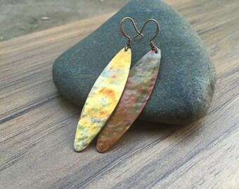 Long copper torched dangle earrings