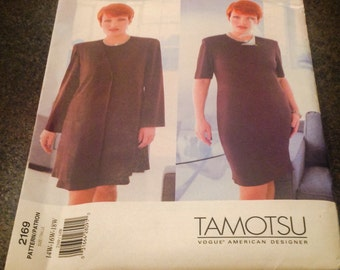 Vogue Sewing Pattern 2169 Tamotsu Petite Jacket & Dress 14 W 16 W 18 W Semi Fitted Lined Above Knee New Uncut FF