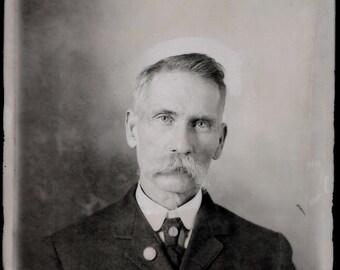 Original Vintage B&W Glass Plate Negative Handsome Man Mustache 8 3/8 x 6 3/8