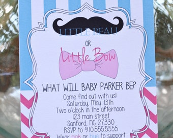 Gender Reveal Party Invitation - Beau or Bow?