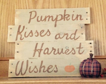 Pumpkin Kisses and Harvest Wishes: Wall Hanging