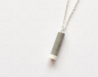 long minimalist concrete cylinder necklace, white color dipped