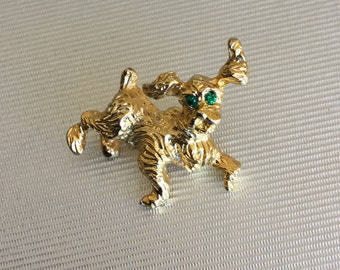 Vintage Gold Tone Dog Brooch 1""
