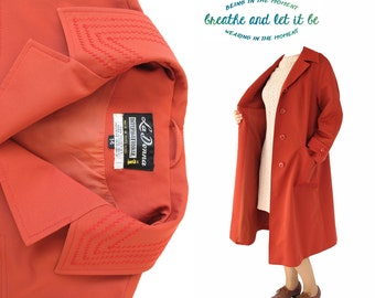 Vintage 70s Brick Red Long Coat | La Donna A Line Button Up Coat | breathe and let it be