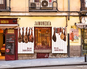 Madrid photography,street photo, restaurant wall art, kitchen art, butcher store, jamoneria,Spain photography,large wall art, neutral tones,