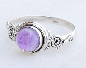 Amethyst  Ring, Silver Ring, Stone Ring, Amethyst Stone Silver Ring, 925 Sterling Silver Ring,Midi Ring,Size US 2 ,3,4,5,6, 7, 8, 9,10