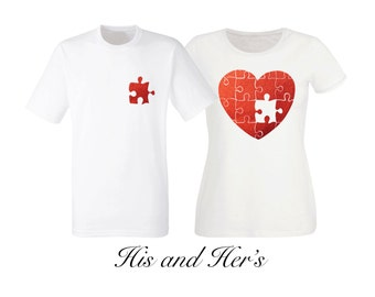 His and her's puzzle metallic red love heart white t-shirts