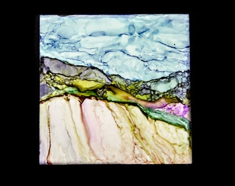 Mounted, Alcohol Ink, Affordable, Under 10 Dollars, Painting, Tile, Landscape, Fantasy, Framed, Fine Art 07