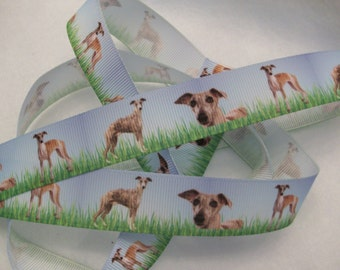 "Greyhound or Whippet Grosgrain Ribbon 7/8"" Dog Breed"