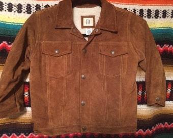 Vintage kids 4/5yr Suede leather, faux sherpa lined,Gap western jacket