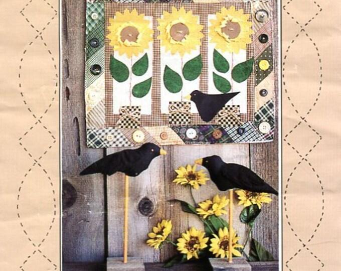 Free Usa Shipping Little Folk Designs Sunflowers & Buttons 1993 Wall Quilt Black Bird Crow Craft Sewing Pattern