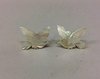Mother of pearl screw back earrings