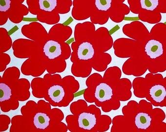 Marimekko fabric cherry red/pink/lime Pieni Unikko 145x50cm by Maija Isola