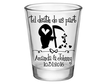100x Custom Shot Glasses Halloween Wedding Favors | 1.75 oz Clear | 'Til Death Do Us Part (1B) | Choose Imprint Color | READ DESCRIPTION