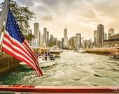 Chicago Photography, American Flag, Hudson River, Chicago Pictures, Hudson River Photo, Travel Photography, Wall Art, Home Decor