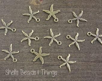 Antique Bronze Starfish, Starfish Charm, Starfish Pendant, Ocean Charms, Jewelry Making Supply